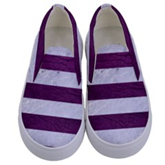 Stripes2white Marble & Purple Leather Kids  Canvas Slip Ons