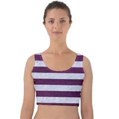 Stripes2white Marble & Purple Leather Velvet Crop Top