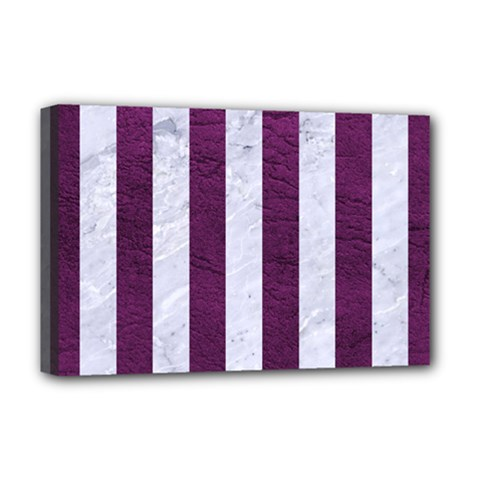 Stripes1 White Marble & Purple Leather Deluxe Canvas 18  X 12   by trendistuff