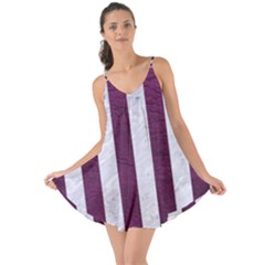Stripes1 White Marble & Purple Leather Love The Sun Cover Up