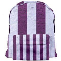 Stripes1 White Marble & Purple Leather Giant Full Print Backpack