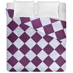 Square2 White Marble & Purple Leather Duvet Cover Double Side (california King Size) by trendistuff