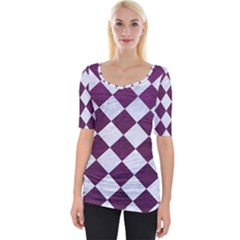Square2 White Marble & Purple Leather Wide Neckline Tee