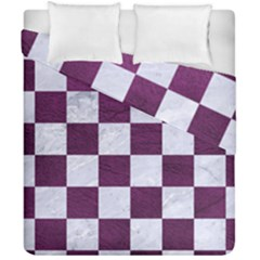 Square1 White Marble & Purple Leather Duvet Cover Double Side (california King Size) by trendistuff