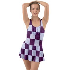 Square1 White Marble & Purple Leather Swimsuit