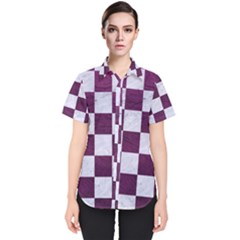 Square1 White Marble & Purple Leather Women s Short Sleeve Shirt