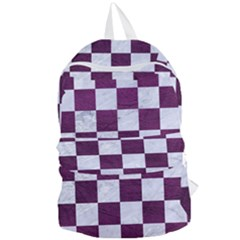 Square1 White Marble & Purple Leather Foldable Lightweight Backpack