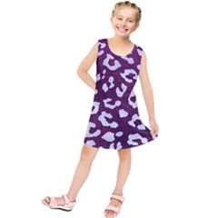 Skin5 White Marble & Purple Leather (r) Kids  Tunic Dress