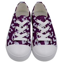 Skin5 White Marble & Purple Leather (r) Kids  Low Top Canvas Sneakers