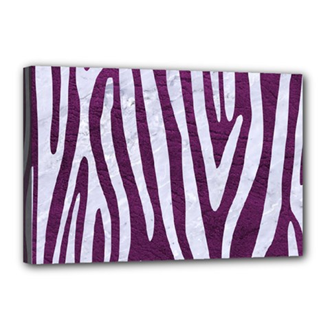 Skin4 White Marble & Purple Leather (r) Canvas 18  X 12  by trendistuff