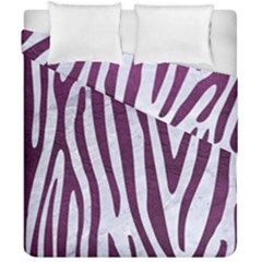 Skin4 White Marble & Purple Leather Duvet Cover Double Side (california King Size) by trendistuff
