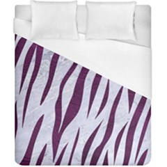Skin3 White Marble & Purple Leather (r) Duvet Cover (california King Size) by trendistuff