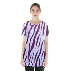 Skin3 White Marble & Purple Leather (r) Skirt Hem Sports Top