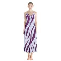Skin3 White Marble & Purple Leather (r) Button Up Chiffon Maxi Dress