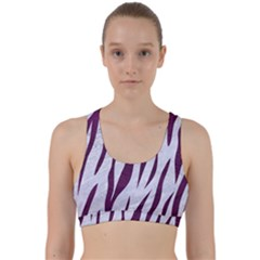 Skin3 White Marble & Purple Leather (r) Back Weave Sports Bra