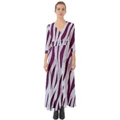 Skin3 White Marble & Purple Leather (r) Button Up Boho Maxi Dress