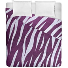 Skin3 White Marble & Purple Leather Duvet Cover Double Side (california King Size) by trendistuff