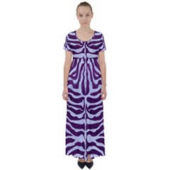 Skin2 White Marble & Purple Leather High Waist Short Sleeve Maxi Dress