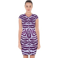 Skin2 White Marble & Purple Leather Capsleeve Drawstring Dress