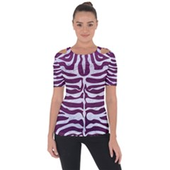 Skin2 White Marble & Purple Leather Short Sleeve Top