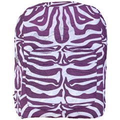 Skin2 White Marble & Purple Leather Full Print Backpack