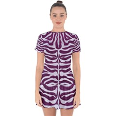 Skin2 White Marble & Purple Leather Drop Hem Mini Chiffon Dress