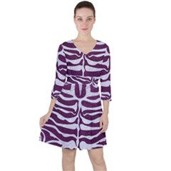 Skin2 White Marble & Purple Leather Ruffle Dress