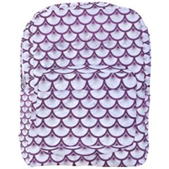 Scales3 White Marble & Purple Leather (r)scales3 White Marble & Purple Leather (r) Full Print Backpack