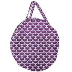 Scales3 White Marble & Purple Leather Giant Round Zipper Tote