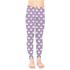 Scales2 White Marble & Purple Leather (r) Kids  Legging