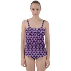 Scales2 White Marble & Purple Leather Twist Front Tankini Set