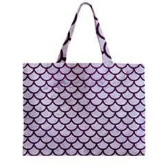 Scales1 White Marble & Purple Leather (r) Zipper Mini Tote Bag by trendistuff