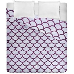 Scales1 White Marble & Purple Leather (r) Duvet Cover Double Side (california King Size) by trendistuff