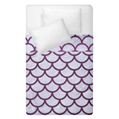 Scales1 White Marble & Purple Leather (r) Duvet Cover Double Side (single Size) by trendistuff
