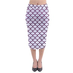 Scales1 White Marble & Purple Leather (r) Midi Pencil Skirt