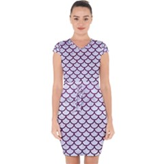 Scales1 White Marble & Purple Leather (r) Capsleeve Drawstring Dress
