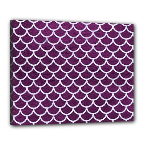 Scales1 White Marble & Purple Leather Canvas 20  X 16  by trendistuff