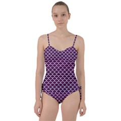 Scales1 White Marble & Purple Leather Sweetheart Tankini Set