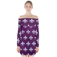 Royal1 White Marble & Purple Leather (r) Long Sleeve Off Shoulder Dress by trendistuff