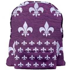 Royal1 White Marble & Purple Leather (r) Giant Full Print Backpack