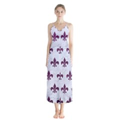 Royal1 White Marble & Purple Leather Button Up Chiffon Maxi Dress