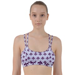 Royal1 White Marble & Purple Leather Line Them Up Sports Bra