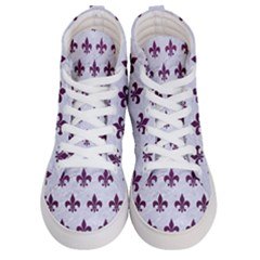 Royal1 White Marble & Purple Leather Women s Hi Top Skate Sneakers