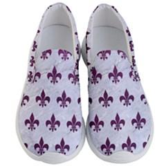 Royal1 White Marble & Purple Leather Men s Lightweight Slip Ons