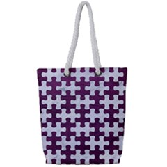Puzzle1 White Marble & Purple Leather Full Print Rope Handle Tote (small)
