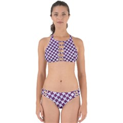 Houndstooth2 White Marble & Purple Leather Perfectly Cut Out Bikini Set