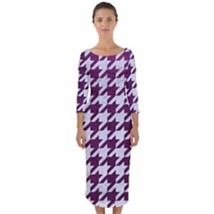 Houndstooth1 White Marble & Purple Leather Quarter Sleeve Midi Bodycon Dress