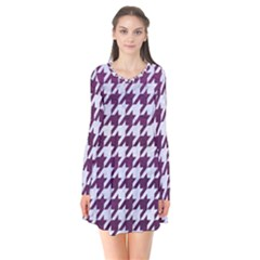 Houndstooth1 White Marble & Purple Leather Flare Dress
