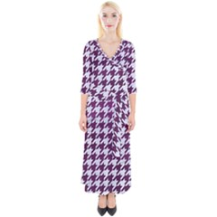 Houndstooth1 White Marble & Purple Leather Quarter Sleeve Wrap Maxi Dress