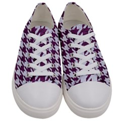 Houndstooth1 White Marble & Purple Leather Women s Low Top Canvas Sneakers